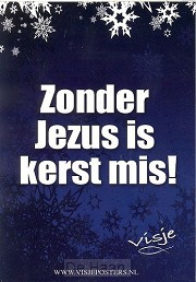 Kaart visje kerst kleur zonder Jezus mis