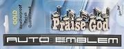 Auto embleem praise God 11cm goud