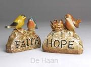 Vogels op rots set 2 faith/hope
