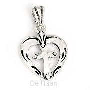 Silver pendant heart cross