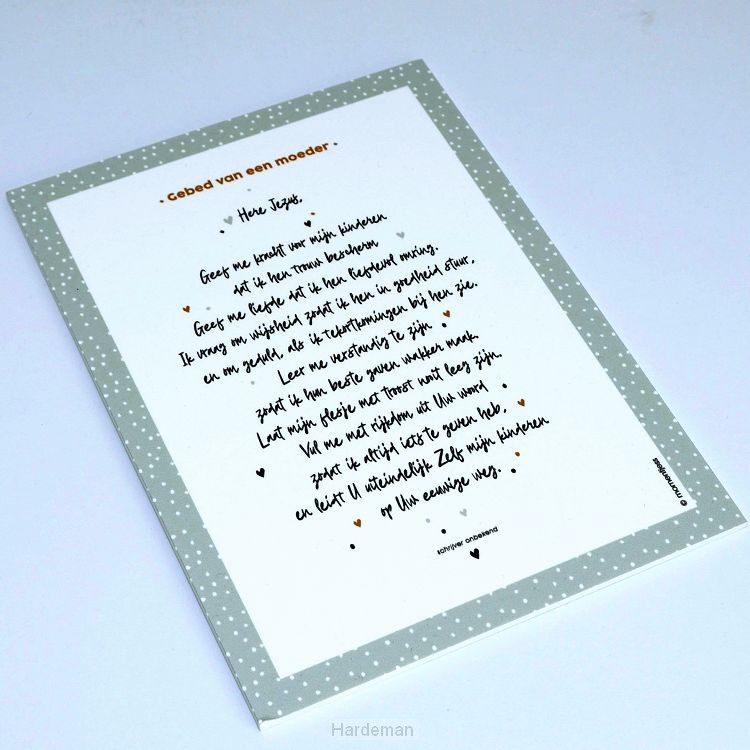 Tekstbord a5 gebed van een moeder grey