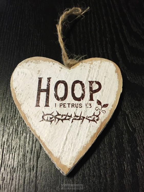 Hoop (Wooden heart - 9,5 cm)