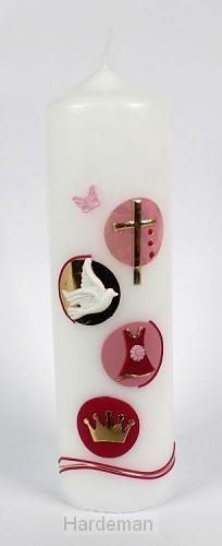 Doopkaars Koningskind roze 22cm