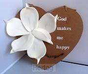 Wandbord hart God makes me happy