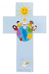 Kruisje hout wereld kinderen blauw