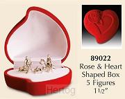 Kerststal mini in rood hart roos