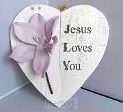 Wandbord Jesus loves you 23x24cm