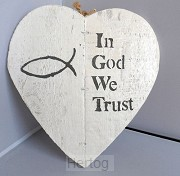 Wandbord in God we trust 23x24cm