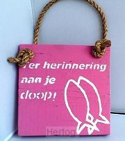 Wandbord gef. met je doop roze