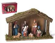 Kerststal 6308 hout met 7 figuren