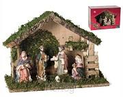 Kerststal 6339 hout met 7 figuren