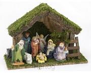 Kerststal 5535 hout met 9 figuren