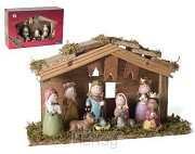 Kerststal 6315 hout met 9 figuren