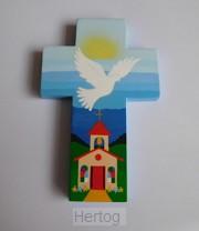 Kruisje hout blauw met kerkje en duif