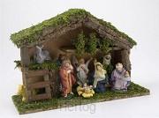 Kerststal hout met 9 figuren 30cm breed