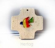 Kruis kalkzandsteen met glazen duif 361