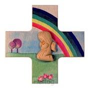 Kruisje met beschermengel regenboog