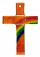 Kruisje glas regenboog