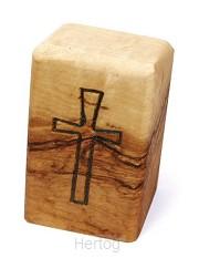 Kruis op standaard olijfhout 5x3cm