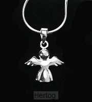 Ketting met hanger engel  zilver 1,5x1,5