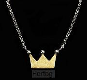 Ketting met hanger kroon zilver goudkl