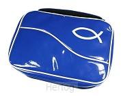Bijbeltas blauw vinyl gelakt 15x21x3,5cm