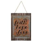 Vintage acid wash sign faith hope love
