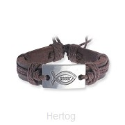 Leather bracelet Jesus/fish