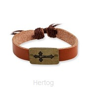 Leather brown bracelet cross