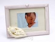 Fotolijst roze 13x9cm hand met kind wit