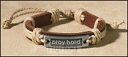 Leather bracelet pray hard
