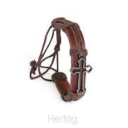 Leather bracelet open cross