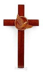 Kruis hang 20cm met duif mahoniehout
