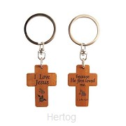 Keyring 2 sided cross He first loved