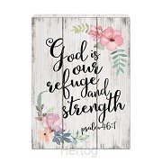 Wall art God is our refuge 40,5x30cm