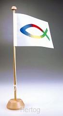 Vlag tafel op standaard vis-logo 4 kleu