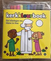 Kerkkleurboek GEEL met 10 stiften