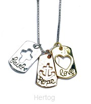 Ketting faith hope love 3 bedeltjes