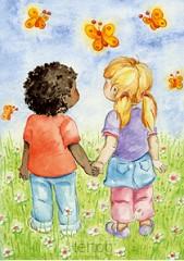 2 kinderen hand in hand