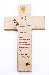 Kruis hout 20cm kinder lieve God regen