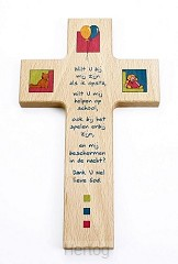 Kruis hout 15cm kind wilt U bij mij zijn