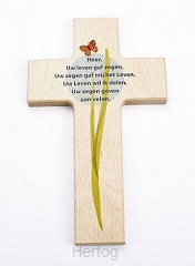 Kruis hout 20cm Heer uw leven gaf zegen