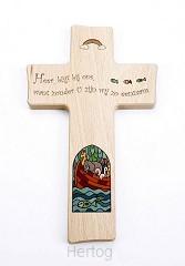 Kruis hout 20cm ark Heer blijf bij ons
