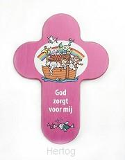 Kruis hout God zorgt voor mij roze