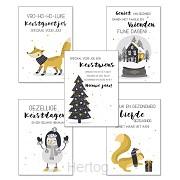 Kerstkaarten set 2 (5 stuks)