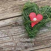 Kerstkaart hart fijne kerstdagen en een