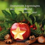 Kerstkaart ster in appel gezegende kerst