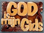 Wandbord 14x10cm God is mijn gids