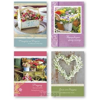Get well cards garden floral set4