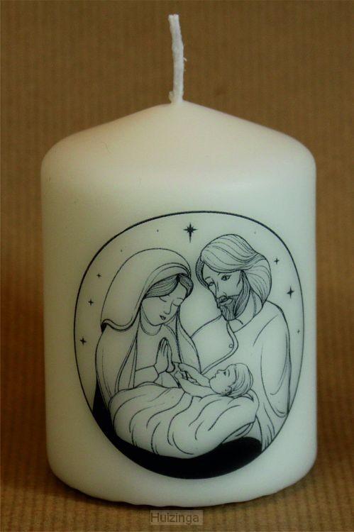 Kerstkaars klein 5.7cm Jozef & Maria